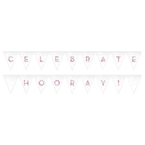 """Club Pack of 12 White and Pink """"CELEBRATE HOORAY!"""" Printed Iridescent Party Flag Banner 108"""" - IMAGE 1"""