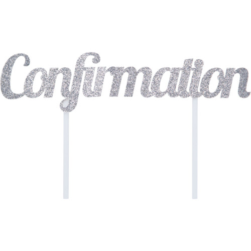 """Club Pack of 12 Silver """"Confirmation"""" Glittery Cake Topper 7"""" - IMAGE 1"""