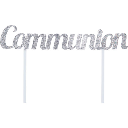 "Club Pack of 12 Silver ""Communion"" Glittery Cake Topper 7"" - IMAGE 1"