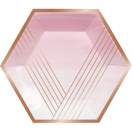 """Club Pack of 96 Pink and Gold Hexagonal Banquet Plates 11.5"""" - IMAGE 1"""