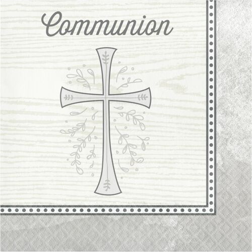 """Club Pack of 192 Silver and Black Divinity Square 2-Ply Luncheon Napkins 12.8"""" - IMAGE 1"""