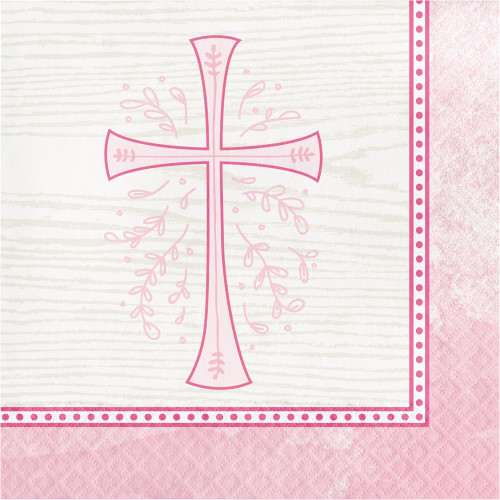 """Club Pack of 192 Pink and Beige Divinity Themed 2-Ply Luncheon Napkins 6.5"""" - IMAGE 1"""