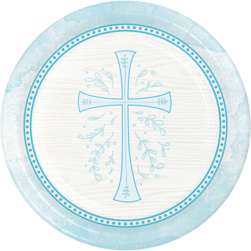 """Club Pack of 96 Sky Blue Divinity Round Dinner Plates 8.75"""" - IMAGE 1"""
