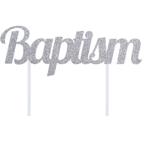 """Club Pack of 12 Silver """"Baptism"""" Glittery Cake Topper 7"""" - IMAGE 1"""