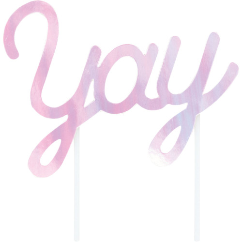"""Club Pack of 12 Pink Iridescent Party """"yay"""" Cake Toppers 7.5"""" - IMAGE 1"""
