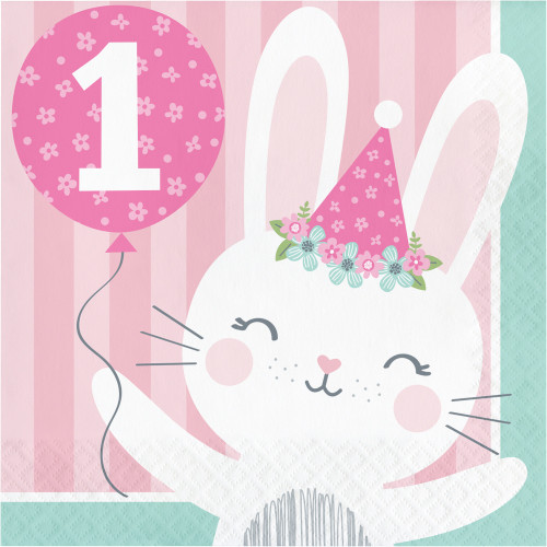 """Club Pack of 192 Pink and White 1st Birthday Themed 2-Ply Luncheon Napkins 6.5"""" - IMAGE 1"""