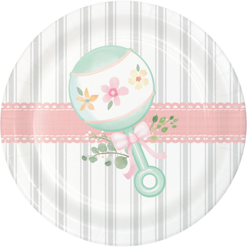 "Club Pack of 96 Green and Pink Flower Printed Round Dessert Plates 6.8"" - IMAGE 1"