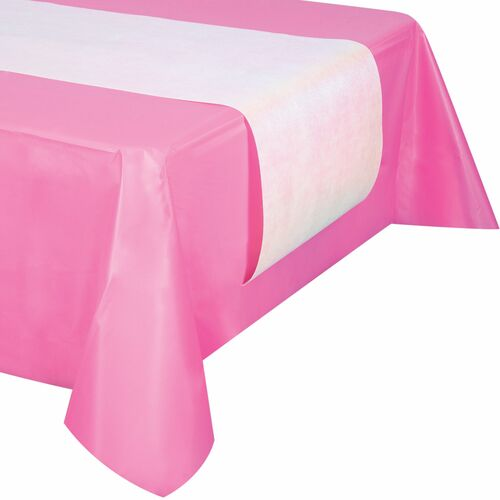 """Club Pack of 12 Solid White Iridescent Party Rectangular Table Runners 14"""" x 84"""" - IMAGE 1"""