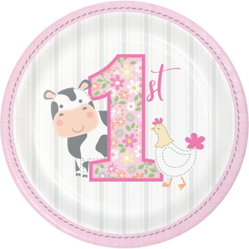 """Club Pack of 96 Pink and Gray Farmhouse Themed Round Dessert Plates 6.8"""" - IMAGE 1"""