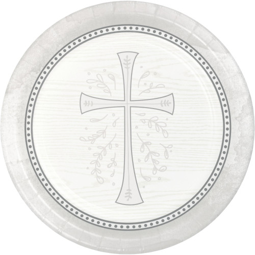 """Club Pack of 96 White and Silver Divinity Dessert Round Plates 6.75"""" - IMAGE 1"""
