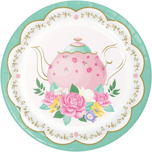 """Club Pack of 96 Rose and White Floral Tea Party Dessert Round Plates 6.8"""" - IMAGE 1"""