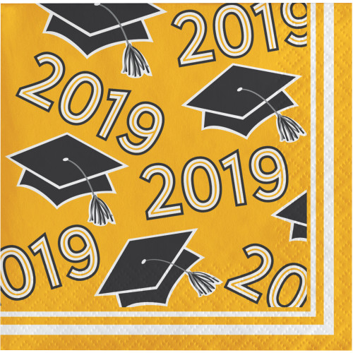 """Club Pack of 360 Yellow and Black Class of 2019 Square Beverage Napkins 5"""" - IMAGE 1"""