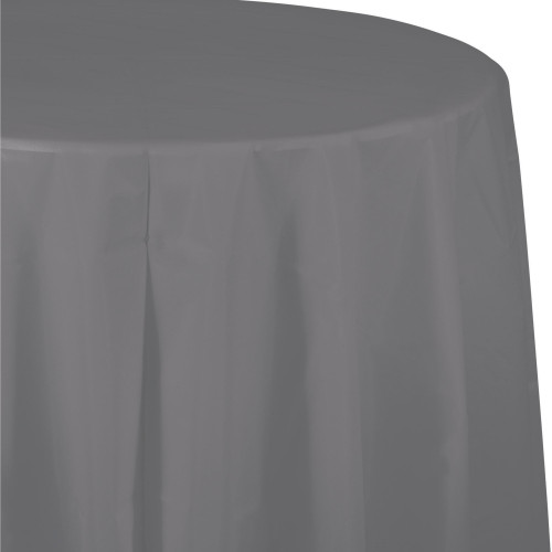 """Club Pack of 12 Gray Glamour Octy Round Tablecloths 82"""" - IMAGE 1"""