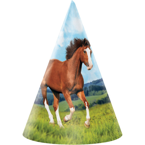 """Club Pack of 48 Brown and Green Horse Party Hats 6.25"""" - IMAGE 1"""