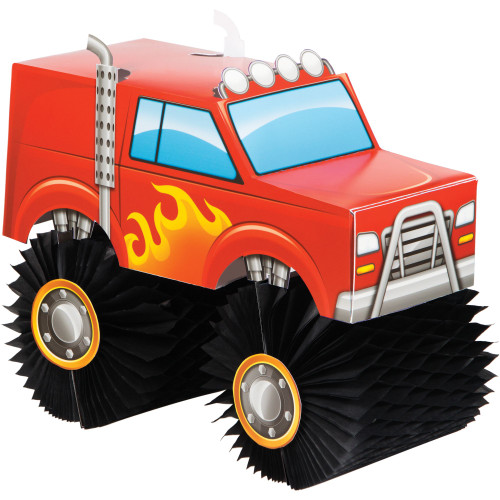 """Pack of 6 Red and Black Monster Truck Rally Centerpieces 10"""" - IMAGE 1"""