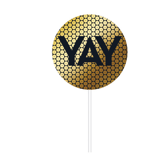 """Club Pack of 12 Gold and Black """"YAY"""" Printed Lollipop Shaped Sequin Cake Toppers 8"""" - IMAGE 1"""