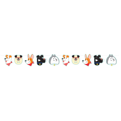 """Set of 6 Multicolored Bunny Party Banner 75.6"""" - IMAGE 1"""