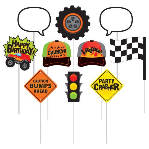 """Club Pack of 60 Green and Black Monster Truck Rally Themed Photo Props 10"""" - IMAGE 1"""