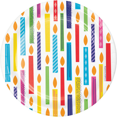 "Club Pack of 96 Red and Blue Bright Birthday Dessert Round Plates 6.8"" - IMAGE 1"