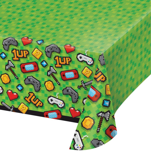"""Pack of 6 Green and Gray Video Game Theme Rectangular Tablecloths 102"""" - IMAGE 1"""
