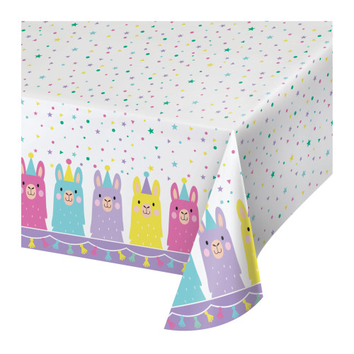 """Pack of 6 White and Blue Llama Party Rectangular Tablecloths 102"""" - IMAGE 1"""