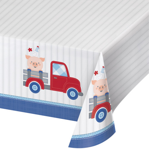 """Set of 6 White and Red Toy Car Printed Tablecloth 102"""" - IMAGE 1"""