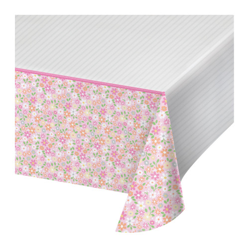 """Set of 6 Pink and White Floral Design Tablecloth 102"""" - IMAGE 1"""