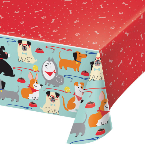 """Pack of 6 Red and Orange Dogs Rectangular Party Table Covers 102"""" - IMAGE 1"""
