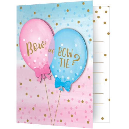 """Club Pack of 48 Blue and Pink Foldover with Attachment Party Invitation 5"""" - IMAGE 1"""