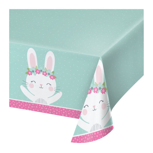 """Pack of 6 Green and Pink Bunny Rectangular Table Covers 102"""" - IMAGE 1"""