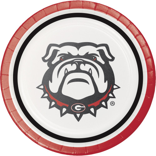 "Club Pack of 96 Red and White Georgia Bulldog Themed Round Luncheon Plates 6.75"" - IMAGE 1"