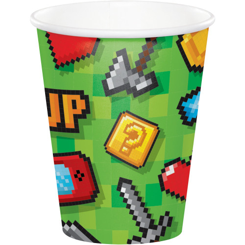 Club Pack of 96 Green Video Game Hot and Cold Party Cups 9 oz. - IMAGE 1