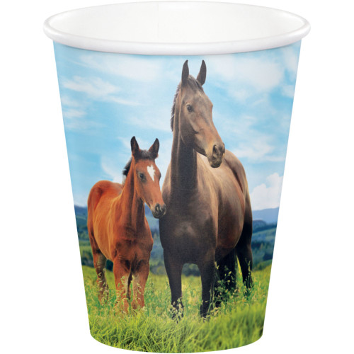"""Club Pack of 96 Brown Horse and Pony Printed Party Cups 3.75"""" - IMAGE 1"""