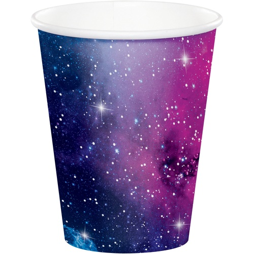 Club Pack of 96 Blue and White Galaxy Themed Hot and Cold Party Cups 9 oz. - IMAGE 1