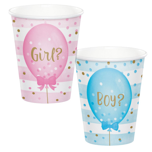 Club Pack of 96 Pink and Blue Balloons Printed Hot and Cold Party Cups 9 oz. - IMAGE 1