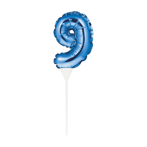 """Club Pack of 12 Blue Self-Inflating """"9"""" Shaped Balloon Cake Toppers 9"""" - IMAGE 1"""