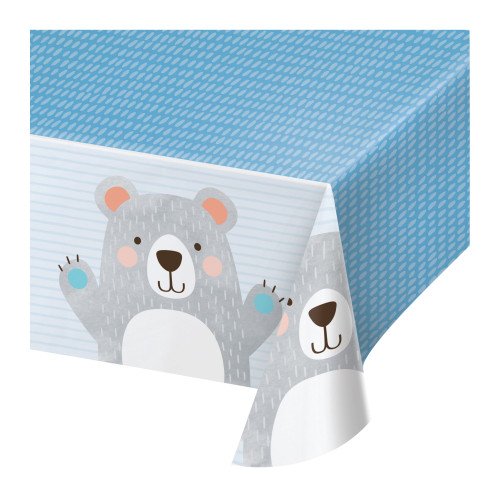 """Club Pack of 12 Blue and Gray Bear Party Rectangular Tablecloths 102"""" - IMAGE 1"""