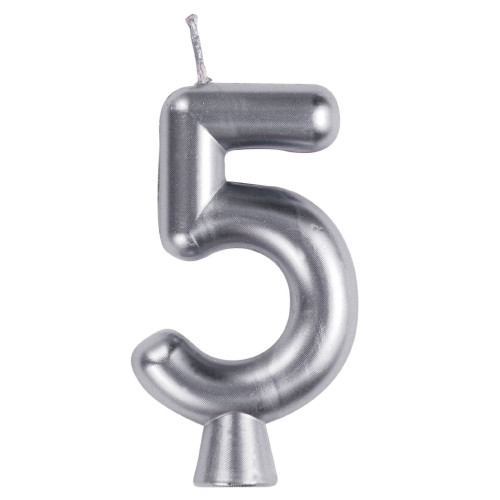 """Club Pack of 12 Silver Numeric 5 Birthday Candles 2.75"""" - IMAGE 1"""