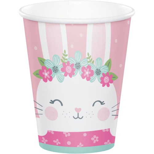 Club Pack of 96 White and Pink Bunny Themed Hot and Cold Party Cups 9 oz. - IMAGE 1