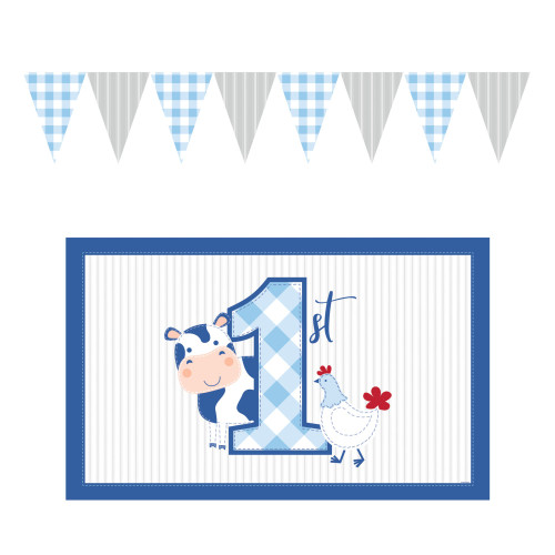 """Pack of 6 White and Blue Farmhouse Boy First Birthday High Chair Decor Kit 48"""" - IMAGE 1"""