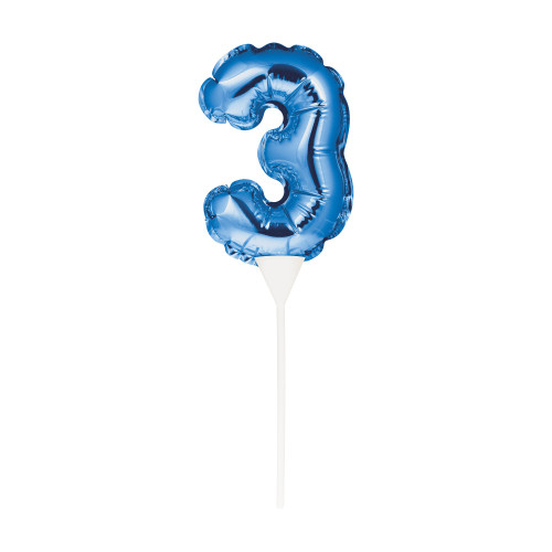 """Club Pack of 12 Blue Self-Inflating """"3"""" Shaped Balloon Cake Toppers 9"""" - IMAGE 1"""