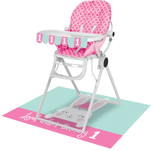 Pack of 6 Pink and Teal Green Bunny Party 1st Birthday High Chair Kits - IMAGE 1
