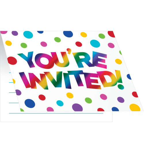 """Club Pack of 48 Vibrantly Colored Rainbow Themed Rectangular Invitations 5"""" - IMAGE 1"""