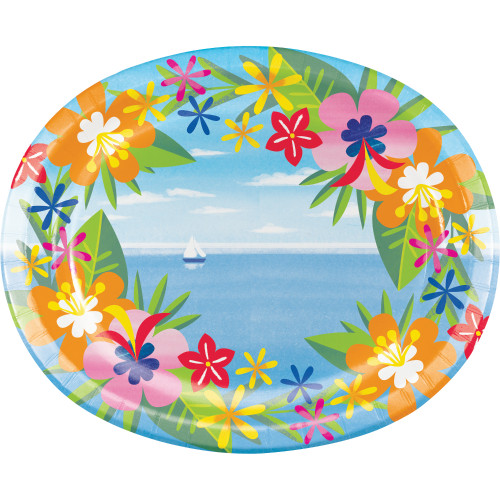 """Club Pack of 96 Blue and Green Floral Oval Plates 12"""" - IMAGE 1"""