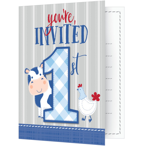 "Club Pack of 48 Gray and Blue 1st Birthday Themed Rectangular Invitations 5"" - IMAGE 1"
