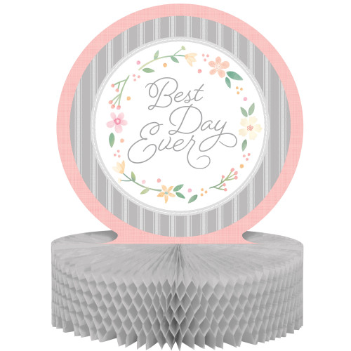 """Pack of 6 Pink and Gray Floral Circular Centerpieces 12"""" - IMAGE 1"""