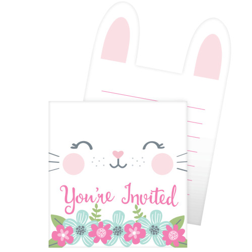 """Club Pack of 48 White and Pink """"you're invited"""" Printed Bunny Party Invitations 6"""" - IMAGE 1"""