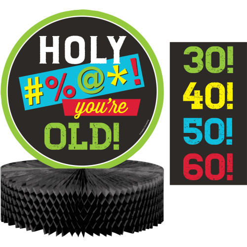 """Pack of 6 Black and Green Age Humor Centerpieces 12"""" - IMAGE 1"""