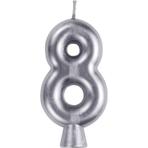 """Club Pack of 12 Silver Numeric 8 Birthday Candles 2.75"""" - IMAGE 1"""