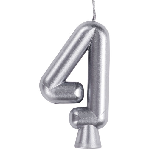 """Club Pack of 12 Silver Numeric 4 Birthday Candles 2.75"""" - IMAGE 1"""